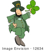 #12634 Dancing St Paddy'S Day Leprechaun Clipart