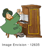 #12635 St Paddy'S Leprechaun Playing Piano Clipart