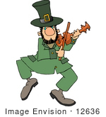 #12636 Dancing Leprechaun Playing Violin Clipart