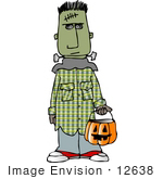 #12638 Boy In A Frankenstein Costume On Halloween Clipart