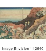 #12640 Photo Of Japanese Pilgrims Climbing A Mountain To Reach A Cave Filled With Monks