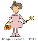 #12641 Girl In A Fairy Costume On Halloween Clipart