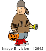 #12642 Boy In A Davy Crockett Costume On Halloween Clipart