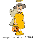 #12644 Girl In An Angel Costume On Halloween Clipart