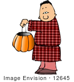 #12645 Boy In A Sleep Walker Costume On Halloween Clipart