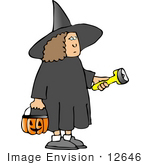#12646 Girl In A Witch Costume On Halloween Clipart