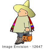 #12647 Boy In A Bandito Costume On Halloween Clipart