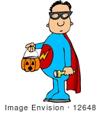 #12648 Boy In A Super Hero Costume On Halloween Clipart