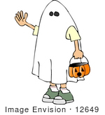 #12649 Boy In A Ghost Costume On Halloween Clipart