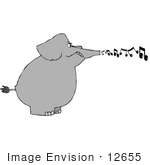 #12655 Singing Elephant Clipart
