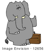 #12656 Elephant With Luggage Hitchhiking Clipart