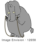 #12658 Elephant Exercising With A Jump Rope Clipart