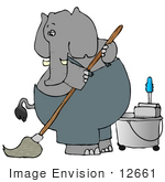 #12661 Elephant Mopping A Floor Clipart