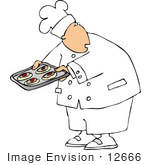 #12666 Chef Holding A Tray Of Cooled Fruit Cookies Clipart