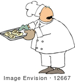 #12667 Chef With A Tray Of Cinnamon Rolls Clipart