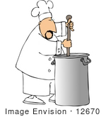 #12670 Chef Stirring Contents In A Stockpot Clipart
