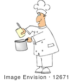 #12671 Chef With A Can And A Pot Clipart
