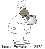 #12672 African American Chef Smelling His Food Clipart