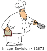 #12673 Chef Holding A Hotpad And Pan Clipart