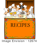 #12674 Group Of Chef'S In A Recipe Box Clipart