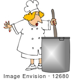 #12680 Chef Stirring Food In A Pot Clipart