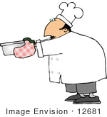 #12681 Chef Holding A Pan Clipart