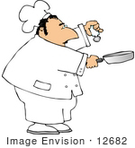 #12682 Chef Salting Food In A Pan Clipart