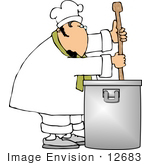 #12683 Chef Stirring The Contents In A Pot Clipart
