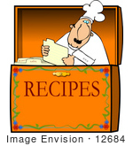 #12684 Chef Reading A Card In A Recipe Box Clipart