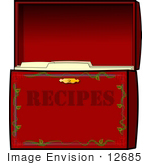 #12685 Red Recipe Box Clipart by DJArt