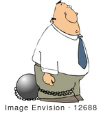 #12688 Man In Ball And Chains Clipart