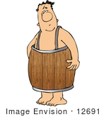 #12691 Man In A Barrel Clipart