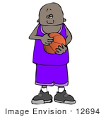 #12694 African American Boy Holding A Basketball Clipart