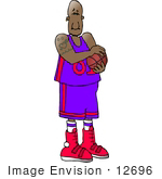 #12696 African American Basketball Athlete Clipart