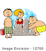 #12700 Two Boys And A Girl Building A Sand Castle Clipart