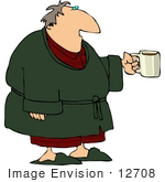 #12708 Man Having His Morning Cup Of Coffee Clipart
