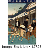 #12723 Picture Of People In Japan Riding Carriages