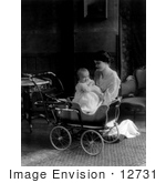 #12731 Picture Of A Woman And Baby With A Baby Carriage