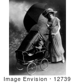 #12739 Picture of a Mother and Baby Carriage in the Rain by JVPD