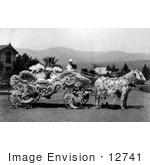 #12741 Picture Of People In A Floral Decorated Carriage