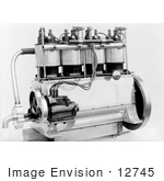 #12745 Picture Of The Wright Brothers' 4 Cylinder Engine