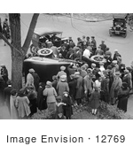 #12769 Picture Of A Crowd Investigating A Car Wreck