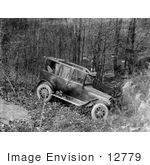 #12779 Picture Of A Side View Of A Wrecked Automobile