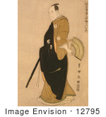 #12795 Picture Of A Japanese Man With A Hand Fan