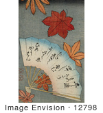 #12798 Picture Of A Hand Fan With Maple Leaves