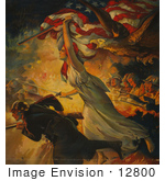 #12800 Picture Of Liberty And Soldiers During Battle