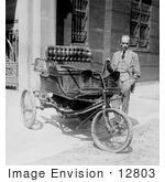 #12803 Picture of Carl W. Mitman Standing Beside a Three Wheel Car by JVPD