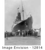 #12814 Picture Of The Lusitania In Ny Harbor In 1907