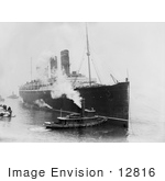 #12816 Picture Of A Tugboat And The Lusitania