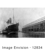 #12834 Picture Of The Lusitania At Pier